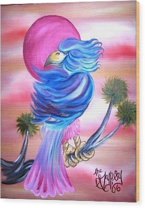 Wood Print featuring the painting Fantasy Bird by The GYPSY And DEBBIE