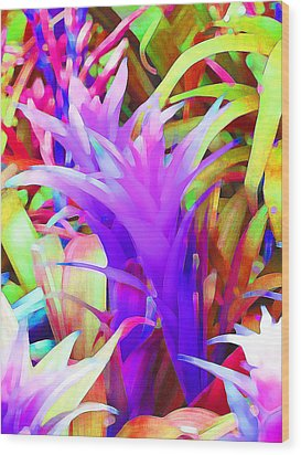 Fantasy Bromeliad Abstract Wood Print