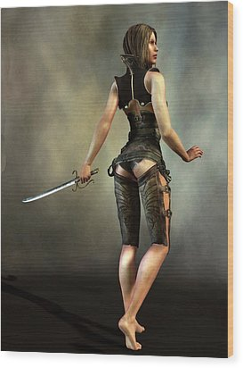 Wood Print featuring the digital art Fantasy Female Assassin by Kaylee Mason