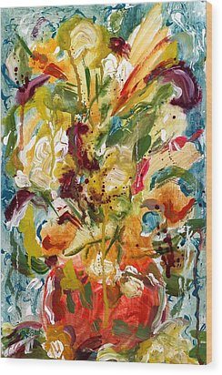 Fantasy Floral 1 Wood Print by Carole Goldman