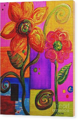 Fantasy Flowers Wood Print by Eloise Schneider