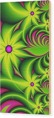 Wood Print featuring the digital art Fantasy Flowers by Gabiw Art