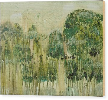 Wood Print featuring the painting Fantasy Forest by Diane Pape