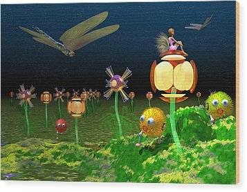 Fantasy Garden Wood Print by Carol and Mike Werner