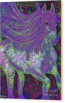 Fantasy Horse Purple Mosaic Wood Print by Saundra Myles