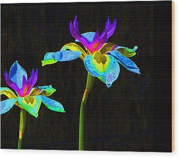 Fantasy Irises 2 Wood Print by Margaret Saheed