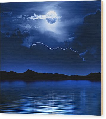 Fantasy Moon And Clouds Over Water Wood Print by Johan Swanepoel