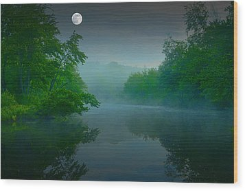 Fantasy Moon Over Misty Lake Wood Print