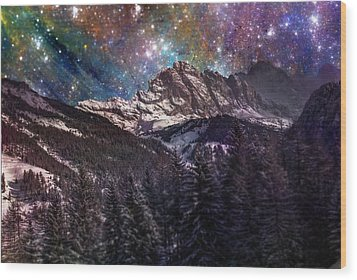 Fantasy Mountain Landscape Wood Print