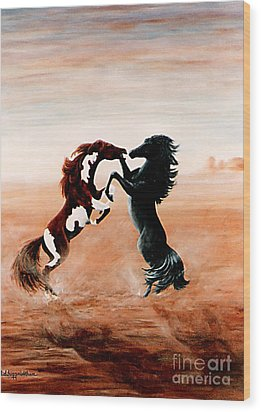 Fantasy Mustangs Wood Print by DiDi Higginbotham