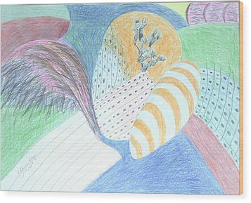 Wood Print featuring the drawing Fantasy Of Egg And Cactus by Esther Newman-Cohen