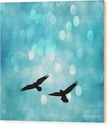 Fantasy Surreal Ravens Flying - Aquamarine Blue Bokeh Sparkling Lights Wood Print by Kathy Fornal