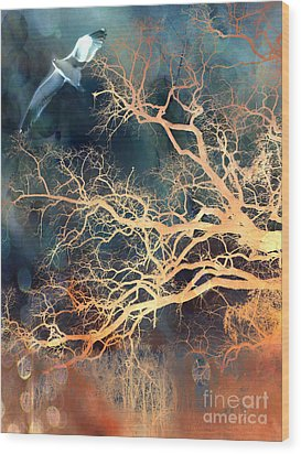 Fantasy Surreal Trees And Seagull Flying Wood Print by Kathy Fornal