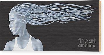 Fantasy Woman Illustration Wood Print by Christos Georghiou
