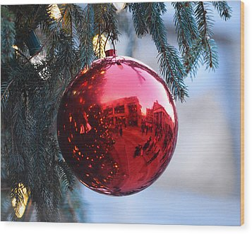 Faneuil Hall Christmas Tree Ornament Wood Print
