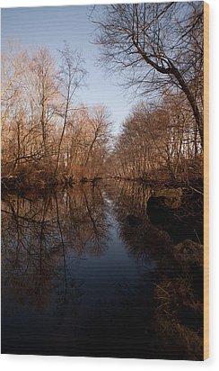 Far Mill River Reflects Wood Print by Karol Livote
