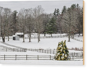 Wood Print featuring the photograph Horse Farm And The Tree by Mike Ste Marie