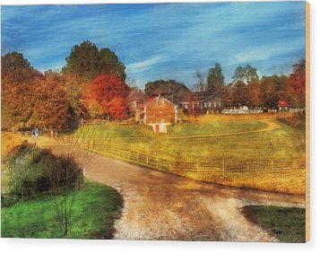 Farm - Barn -  A Walk In The Country Wood Print by Mike Savad