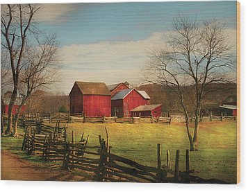 Farm - Barn - Just Up The Path Wood Print by Mike Savad