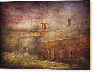 Farm - Barn - Shaker Barn  Wood Print by Mike Savad