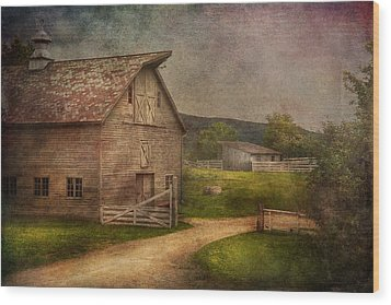 Farm - Barn - The Old Gray Barn  Wood Print by Mike Savad