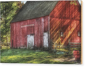 Farm - Barn - The Old Red Barn Wood Print by Mike Savad