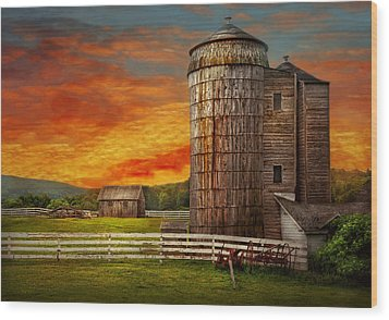 Farm - Barn - Welcome To The Farm  Wood Print by Mike Savad