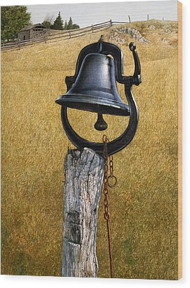 Wood Print featuring the painting Farm Bell by Tom Wooldridge