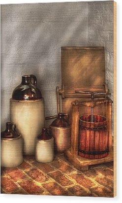 Farm - Bottles - Let's Make Some  Apple Juice Wood Print by Mike Savad