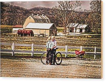 Farm Boys Country Exchange Wood Print by Randall Branham