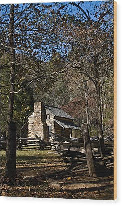 Farm Cabin Cades Cove Tennessee Wood Print by Douglas Barnett