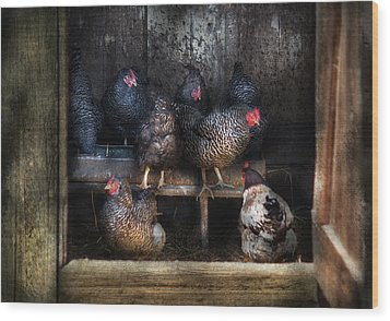 Farm - Chicken - The Hen House Wood Print by Mike Savad