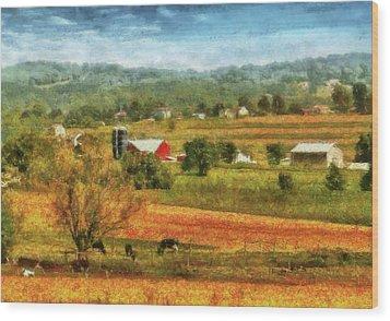 Farm - Cow - Cows Grazing Wood Print by Mike Savad