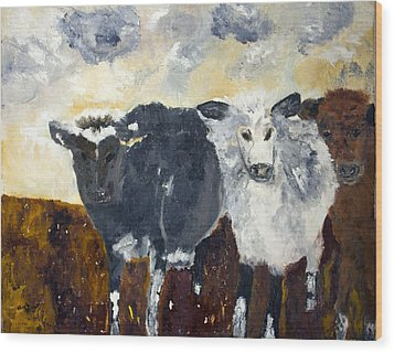 Farm Cows Wood Print