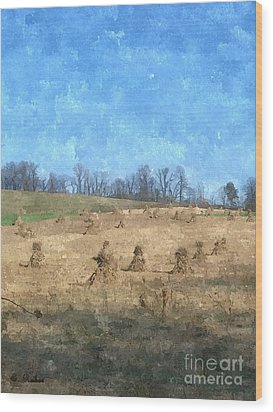 Wood Print featuring the painting Farm Days 2 by Sara  Raber