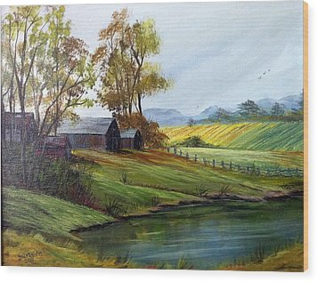 Wood Print featuring the painting Farm by Dorothy Maier