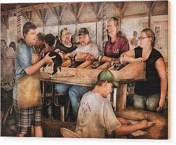 Farm - Farmer - By The Pound Wood Print by Mike Savad