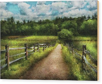 Farm - Fence - Every Journey Starts With A Path  Wood Print by Mike Savad