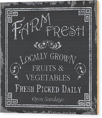 Farm Fresh Sign Wood Print by Debbie DeWitt