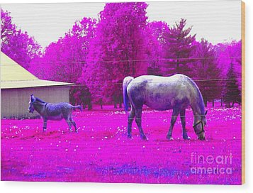 Wood Print featuring the photograph Farm Friends - Animals by Susan Carella