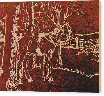 Wood Print featuring the drawing Farm Horse by Larry Campbell