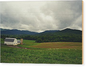 Farm In Swannanoa Nc Wood Print