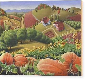 Farm Landscape - Autumn Rural Country Pumpkins Folk Art - Appalachian Americana - Fall Pumpkin Patch Wood Print by Walt Curlee