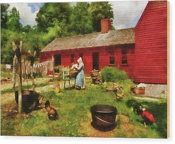 Farm - Laundry - Old School Laundry Wood Print by Mike Savad