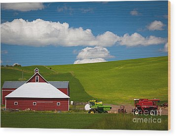 Farm Machinery Wood Print by Inge Johnsson