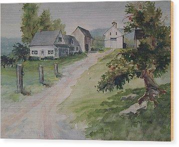 Farm On Orchard Hill Wood Print by Joy Nichols
