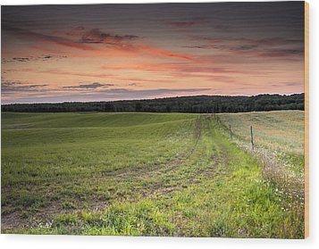 Farm Road Dawn Wood Print