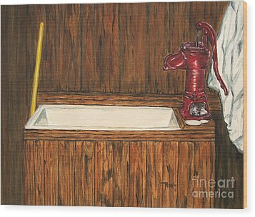 Farm Sink Wood Print by Regan J Smith