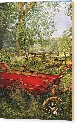 Farm - Tool - A Rusty Old Wagon Wood Print by Mike Savad