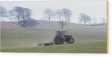 Farm Tractor Wood Print by Stefan Petrovici